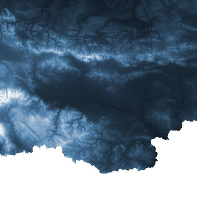 Bulgaria Map Midnight Blue-Topographic Map