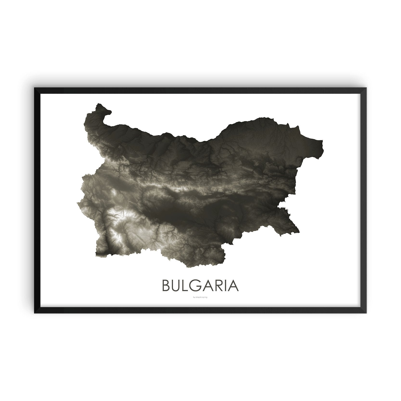 Bulgaria Map Slate-Topographic Map