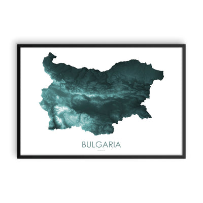 Bulgaria Map Teal-Topographic Map