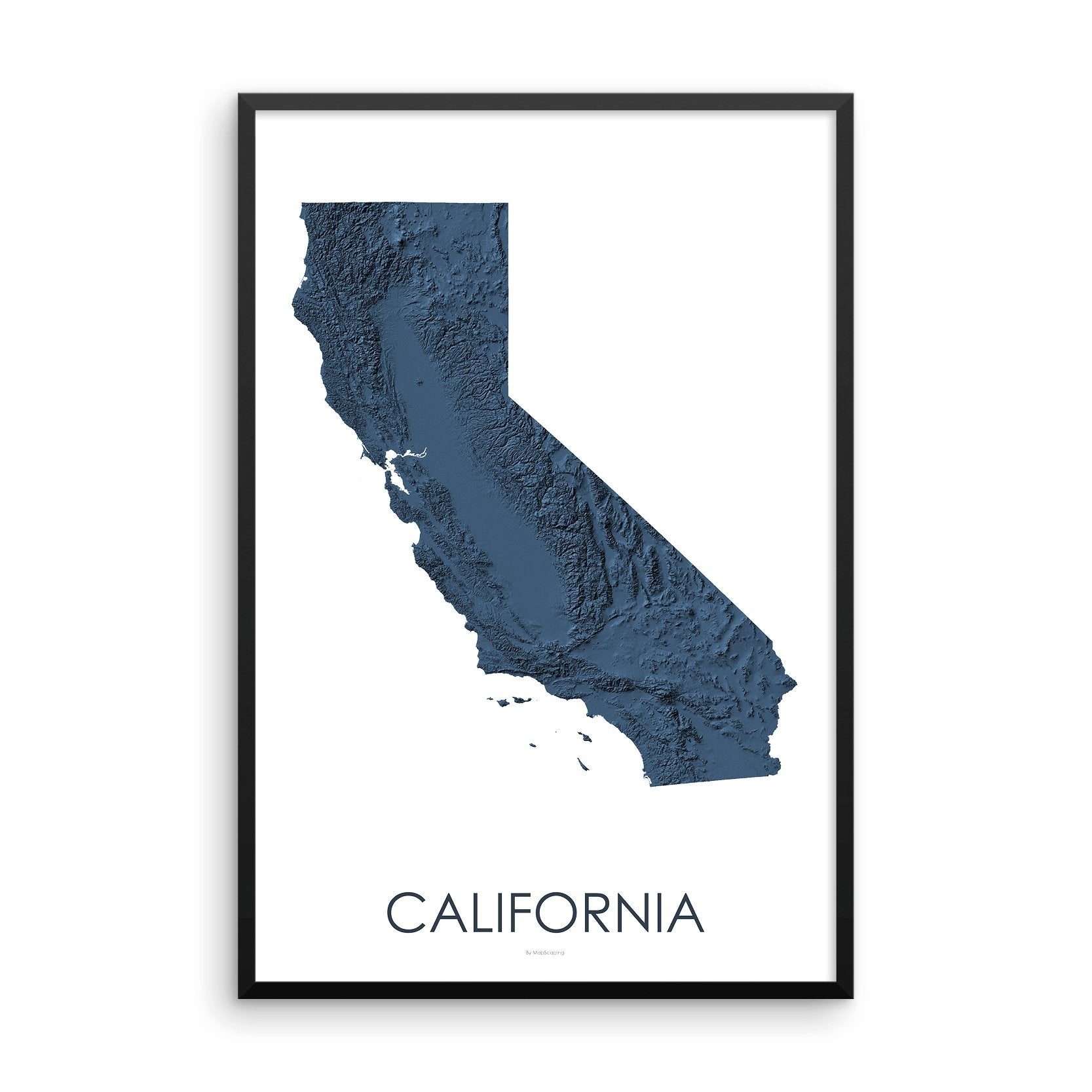 California Map 3D Midnight Blue-Topographic Map