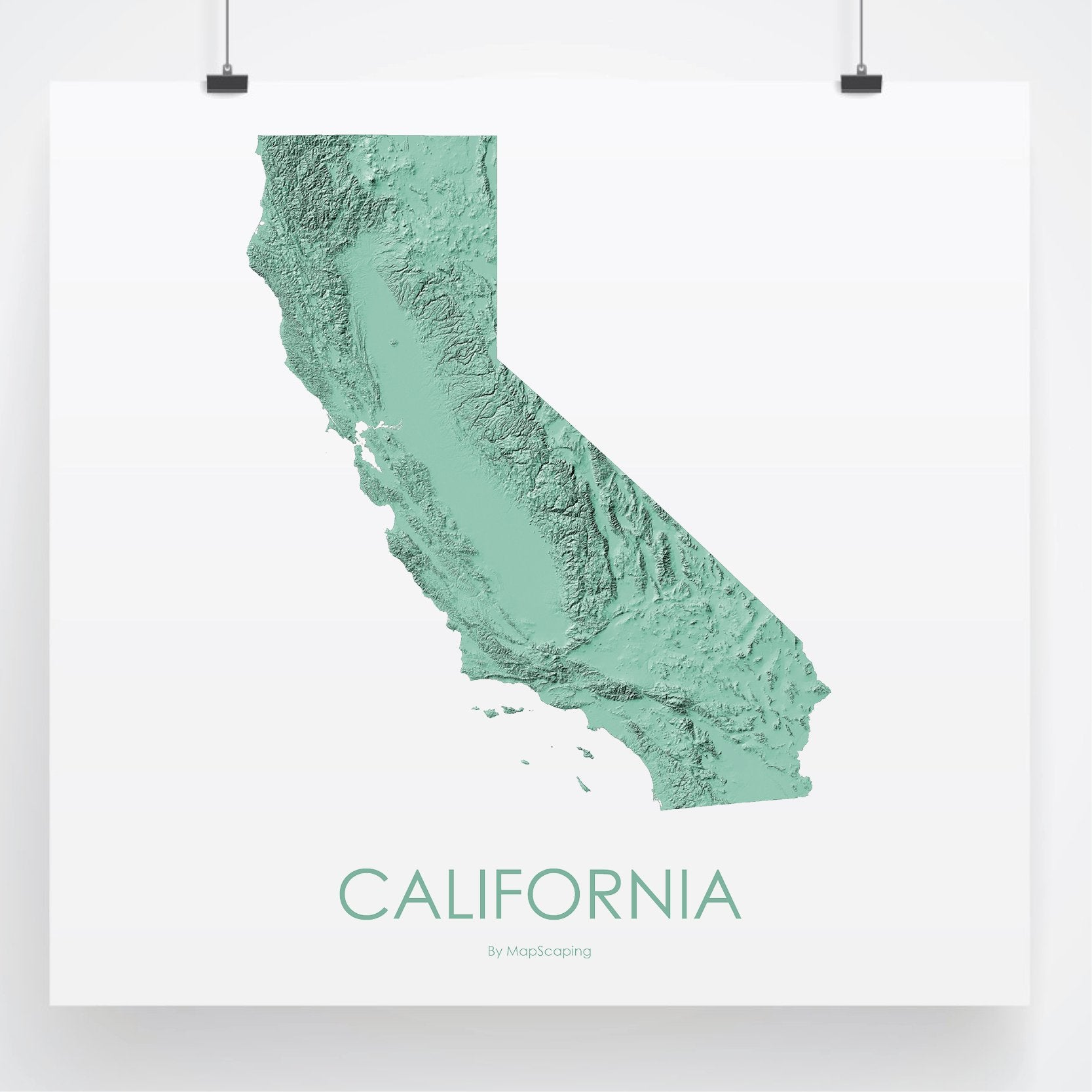 California Poster Solid Mint -Topographic map art by MapScaping