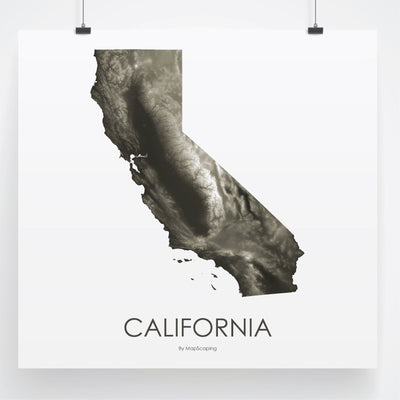 California Map Slate-Topographic Map