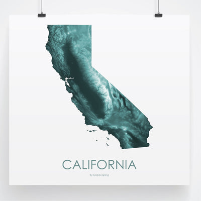 California Map Teal-Topographic Map