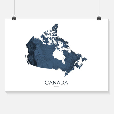Canada Map 3D Midnight Blue