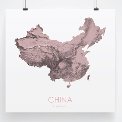 China Map 3D Rose-Topographic Map