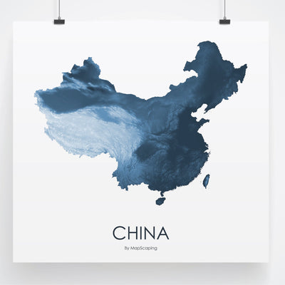 China Map Midnight Blue-Topographic Map