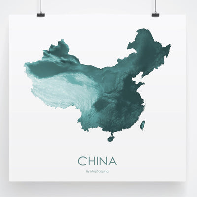 China Map Teal-Topographic Map