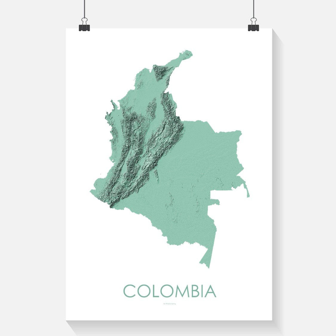 Topographic Map Of Colombia.Colombia Topographic Wall Art Map Mapscaping Com