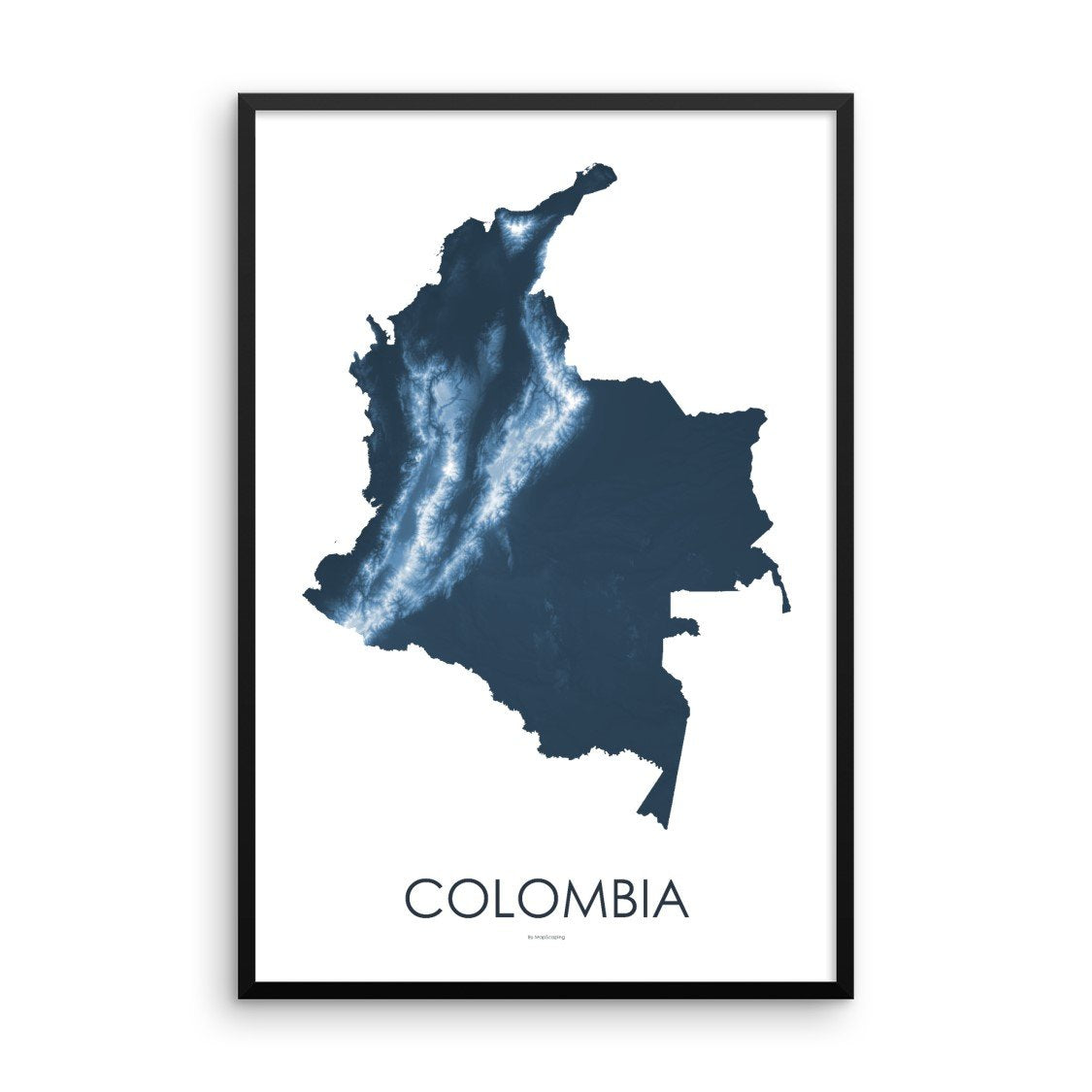 Colombia Map Midnight Blue-Topographic Map