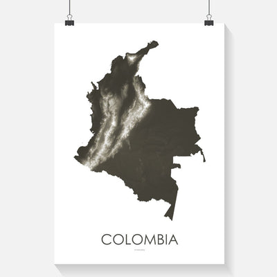 Colombia Map Slate-Topographic Map