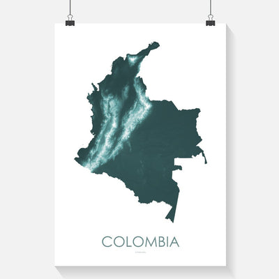 Colombia Map Teal-Topographic Map