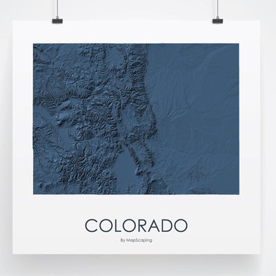 Colorado Map 3D Midnight Blue