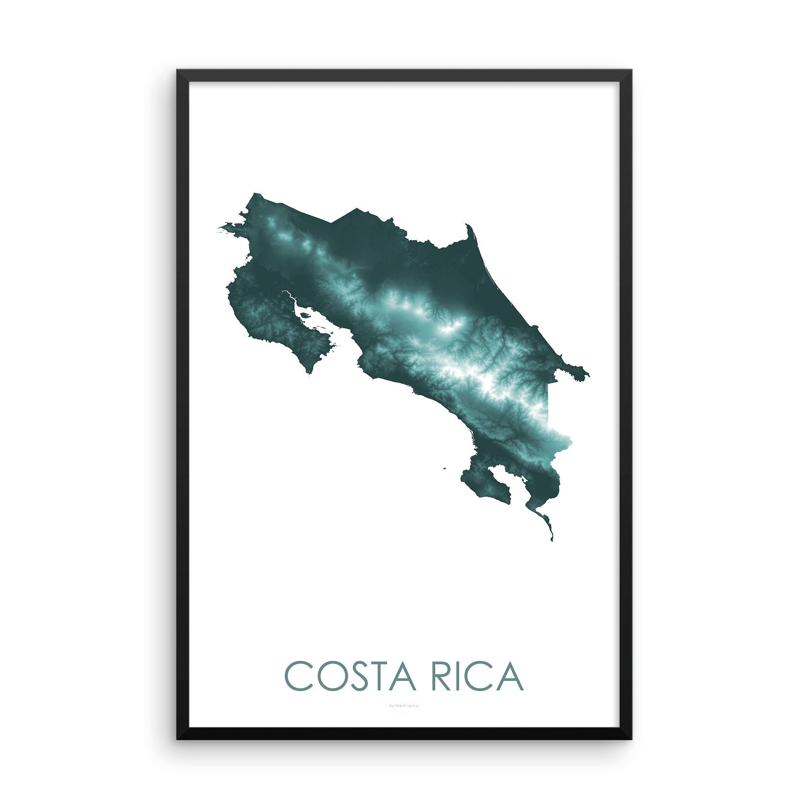 Costa Rica Map Teal