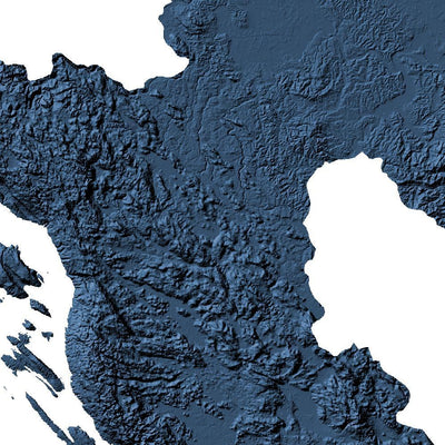 Croatia Poster 3D Midnight Blue-topographic wall art map by MapScaping