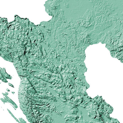 Croatia Poster 3D Mint-topographic wall art map by MapScaping