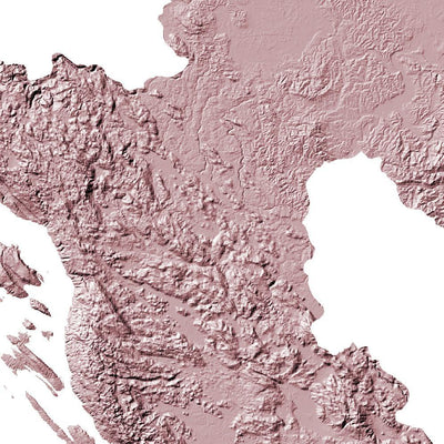 Croatia Poster 3D Rose-topographic wall art map by MapScaping