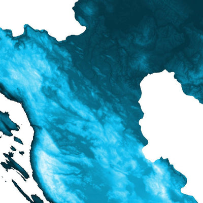 Croatia Poster Petroleum Blue-topographic wall art map by MapScaping