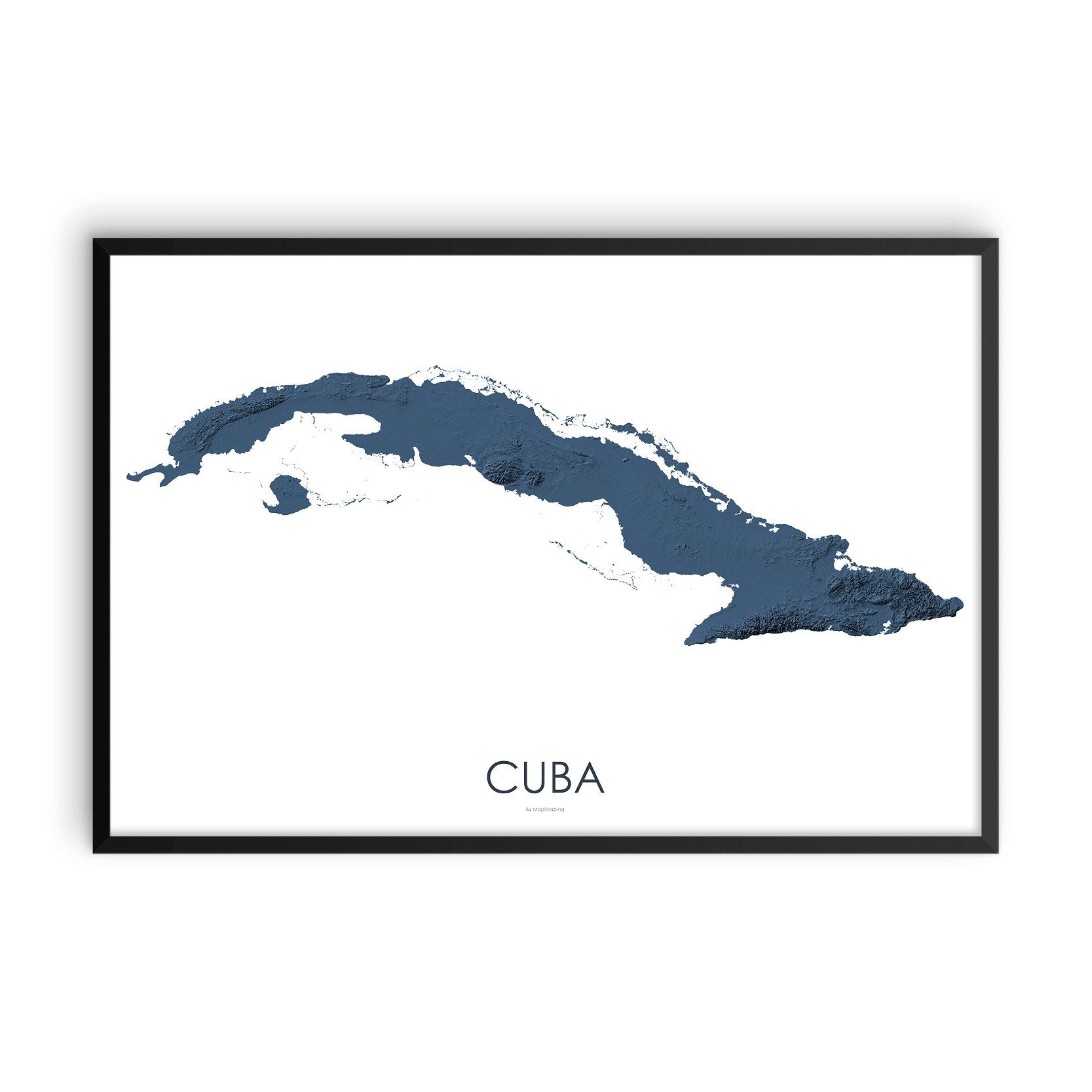 Cuba 3D Midnight Blue-Topographic Map