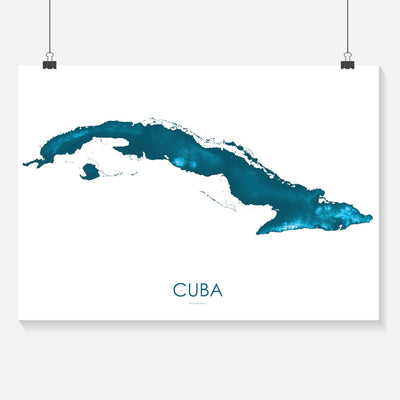 Cuba Map Petroleum Blue-Topographic Map