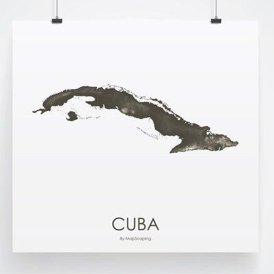 Cuba Map Slate-Topographic Map