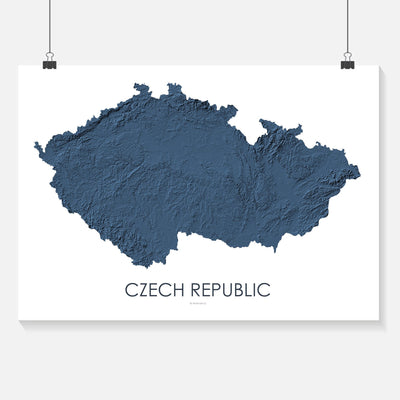 Czech Republic Map 3D Midnight Blue-Topographic Map