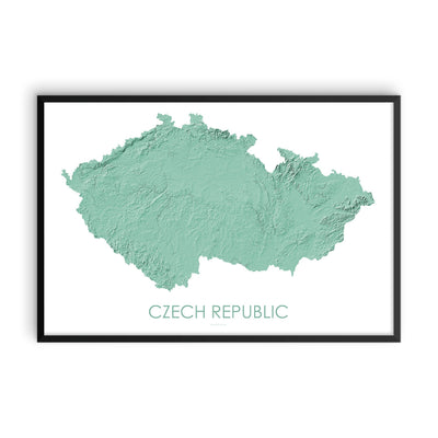 Czech Republic Map 3D Mint-Topographic Map