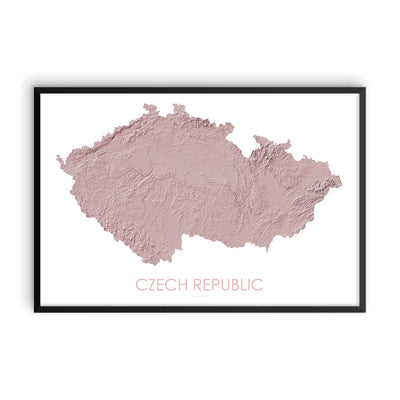 Czech Republic Map 3D Rose-Topographic Map