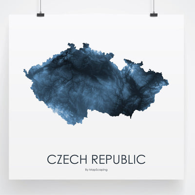 Czech Republic Map Midnight Blue-Topographic Map