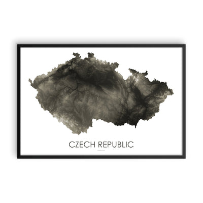 Czech Republic Map Slate-Topographic Map