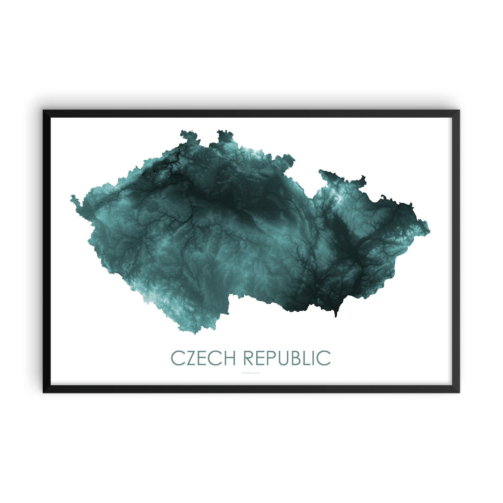 Czech Republic Map Teal-Topographic Map