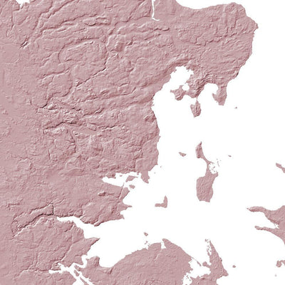 Close up of light pink  poster map of Denmark showing the detail of the map of Denmark. Wall art map of Denmark