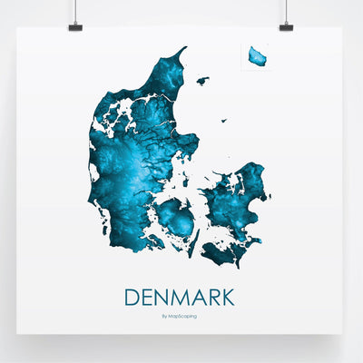 Detailed petroleum blue map print of Denmark in blue. Poster map of Denmark highlighting the topography of the landscape of the Jylland and Zealand.