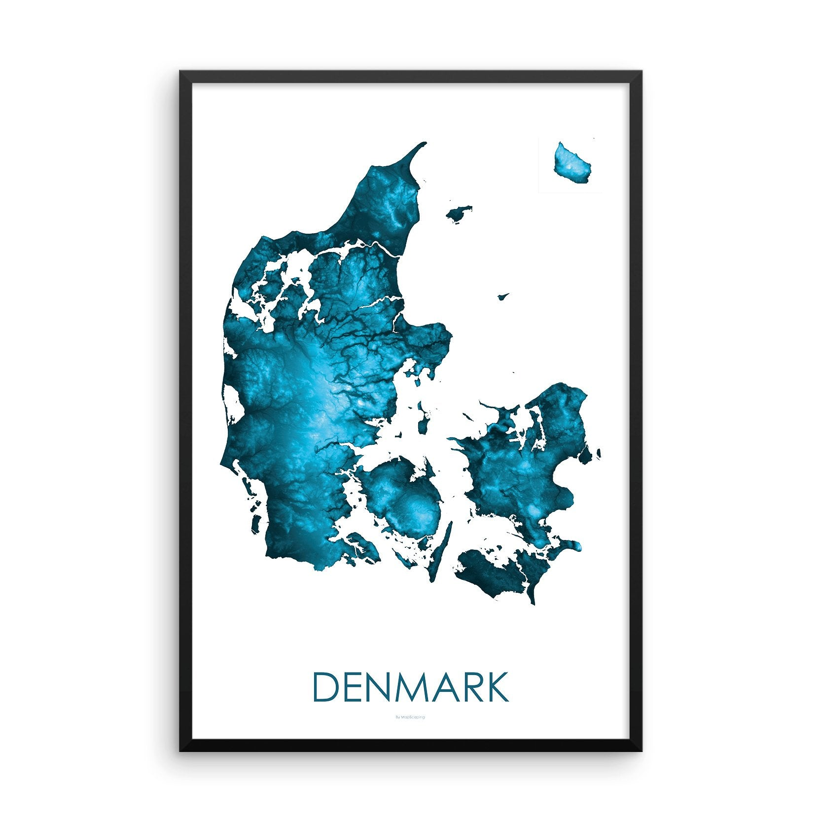 Framed petroleum blue poster map of Denmark and the danish islands, detailed map print showing the mountains of Denmark's landscape.