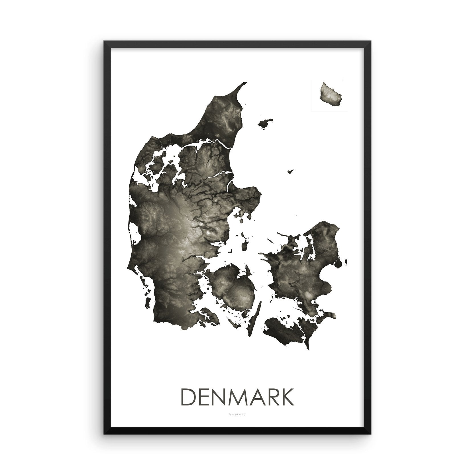 Framed gray poster map of Denmark and the danish islands, detailed map print showing the mountains of Denmark's landscape.