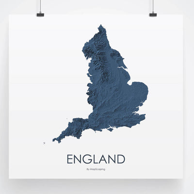 England Map 3D Midnight Blue
