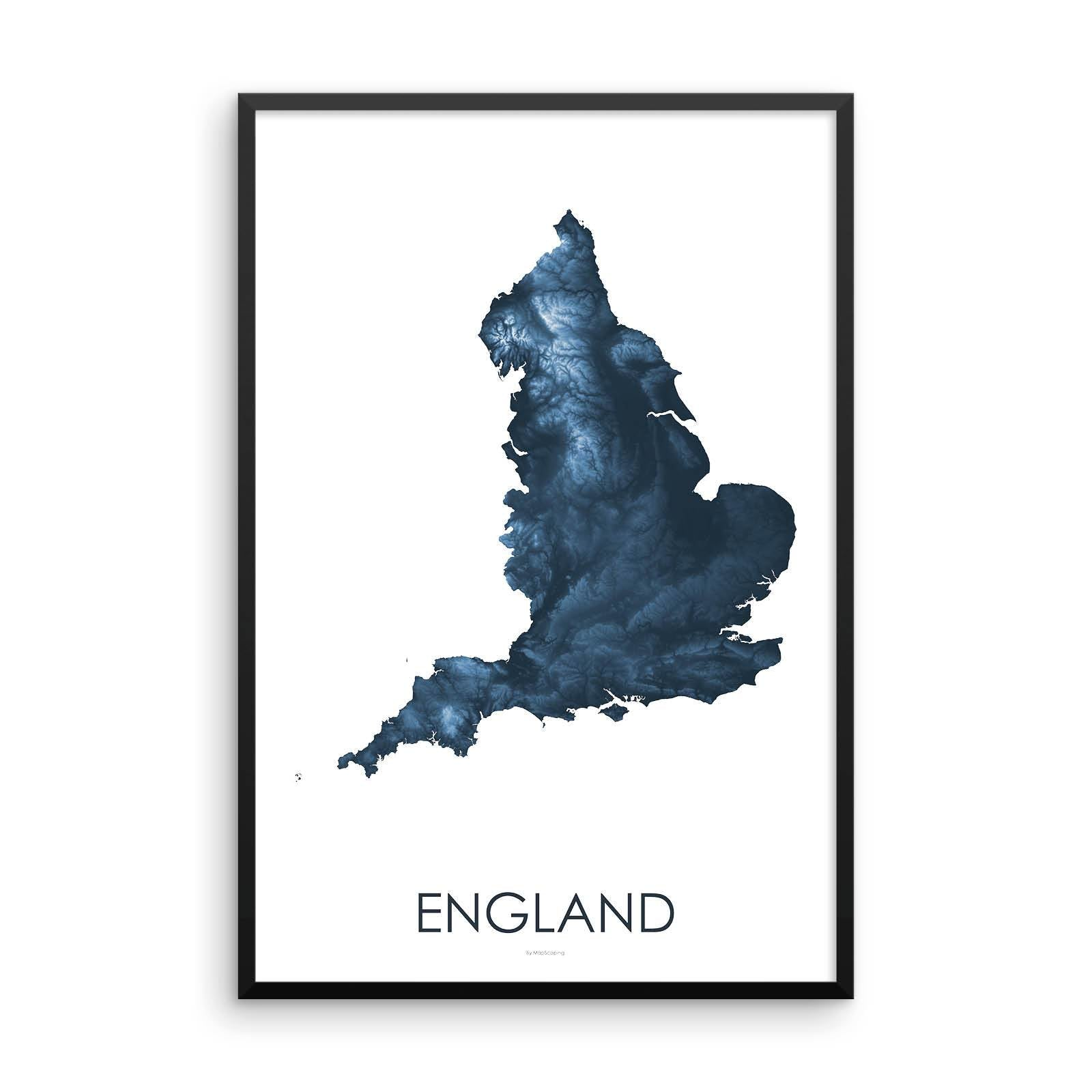 England Map Midnight Blue