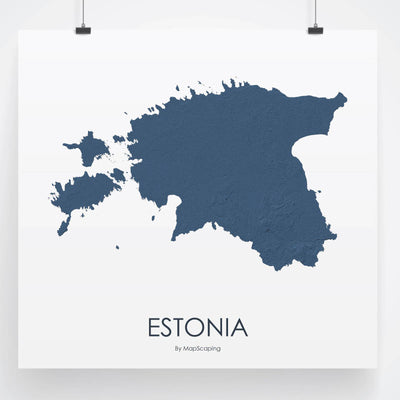 Estonia Map 3D Midnight Blue