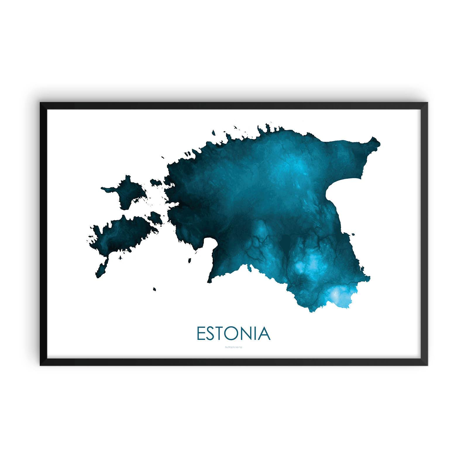 Estonia Map Petroleum Blue