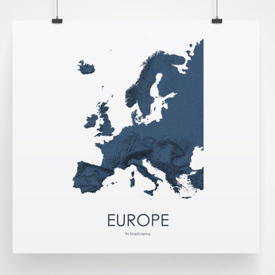 Europe Map 3D Midnight Blue-Topographic Map