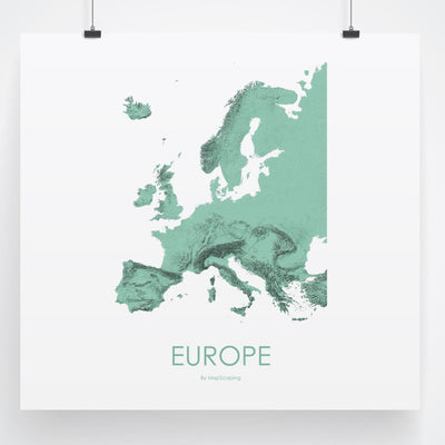 Europe Map 3D Mint-Topographic Map