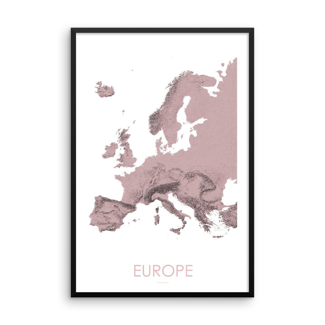 Europe Map 3D Rose-Topographic Map