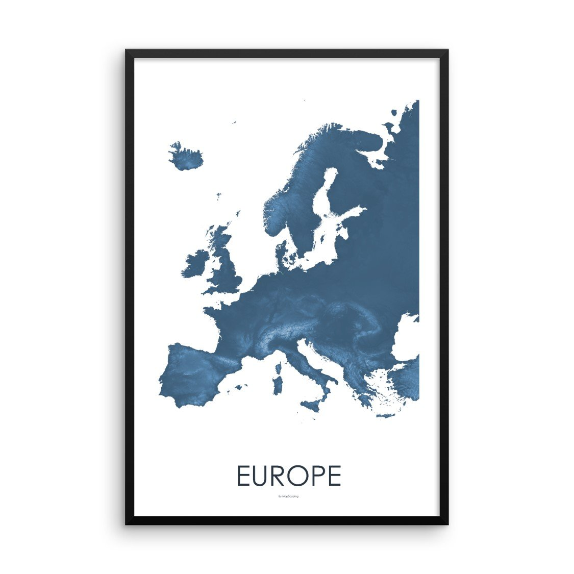 Europe Map Midnight Blue-Topographic Map