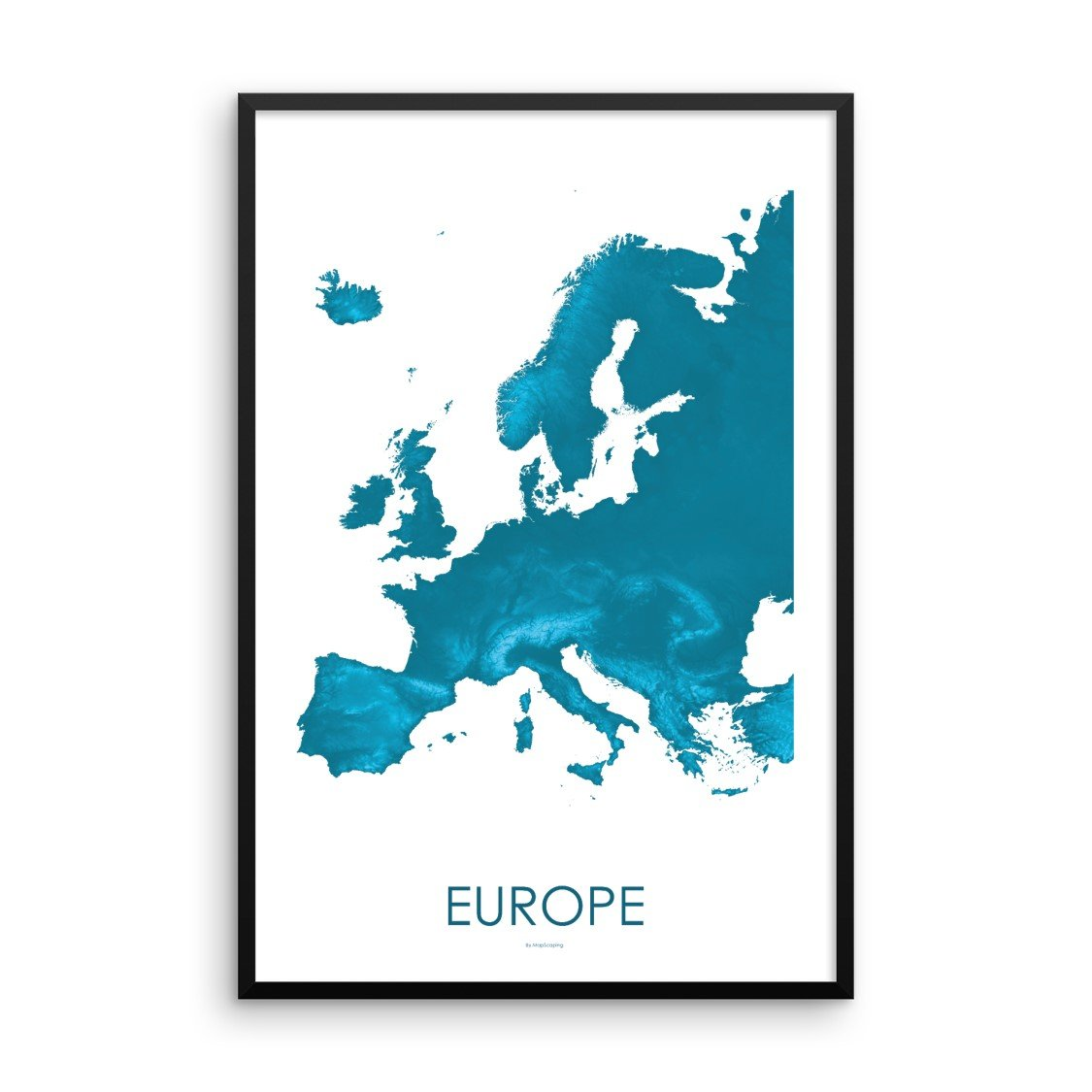 Europe Map Petroleum Blue-Topographic Map