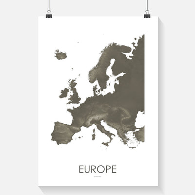 Europe Map Slate-Topographic Map