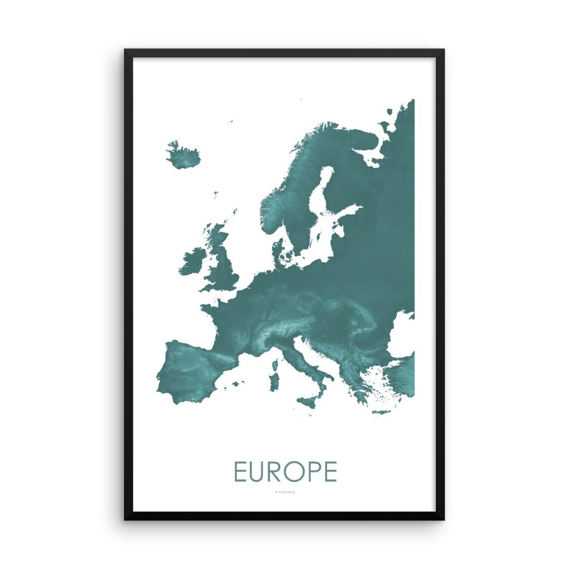Europe Map Teal-Topographic Map