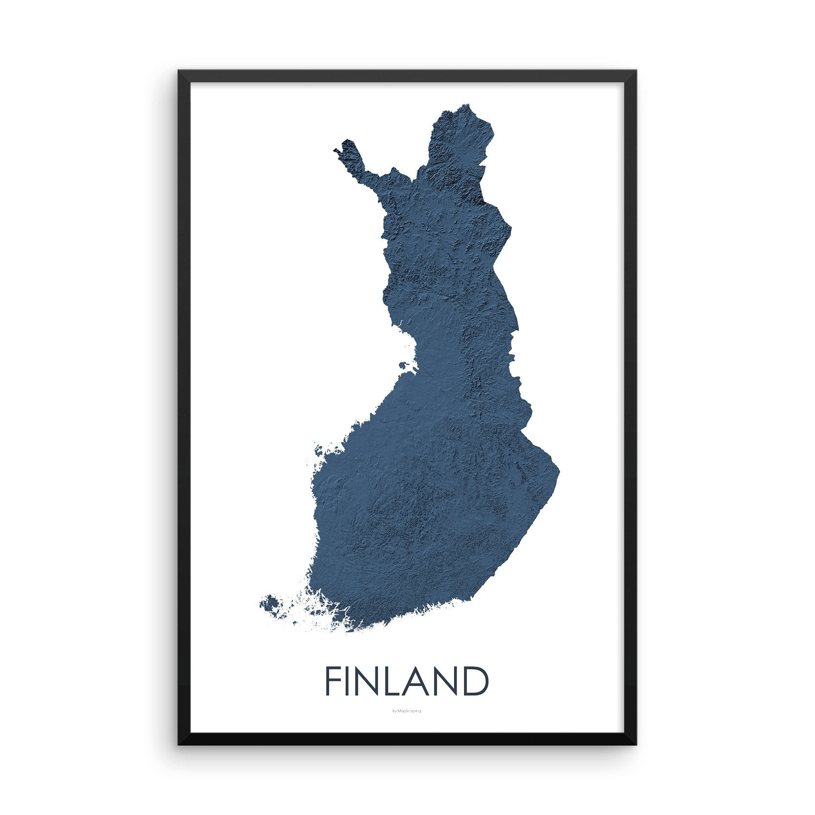 Finland Map 3D Midnight Blue-Topographic Map