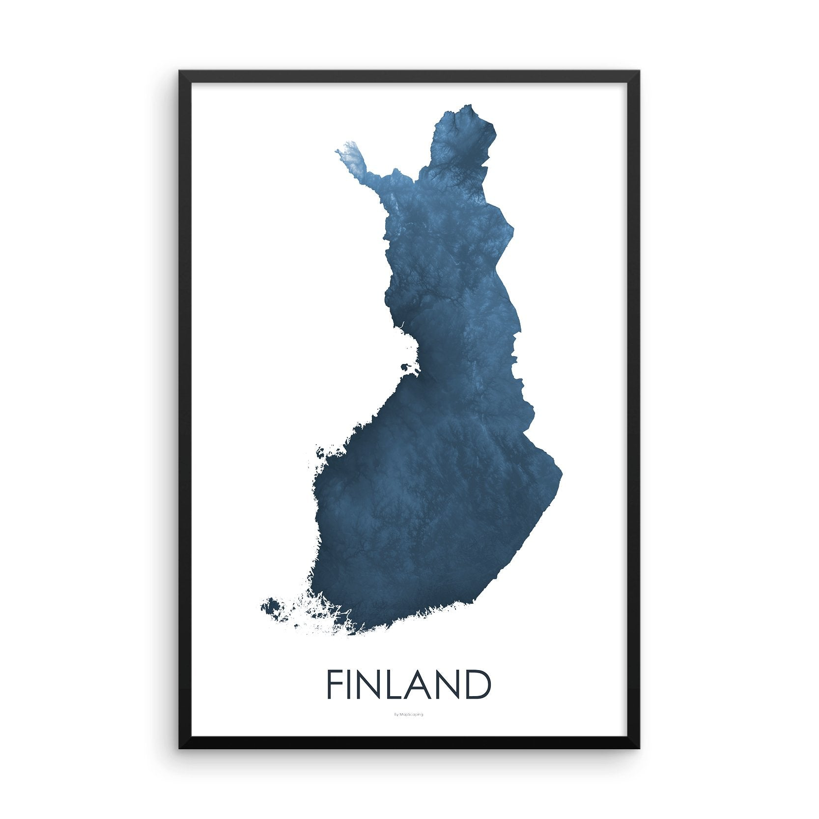 Finland Map Midnight Blue-Topographic Map