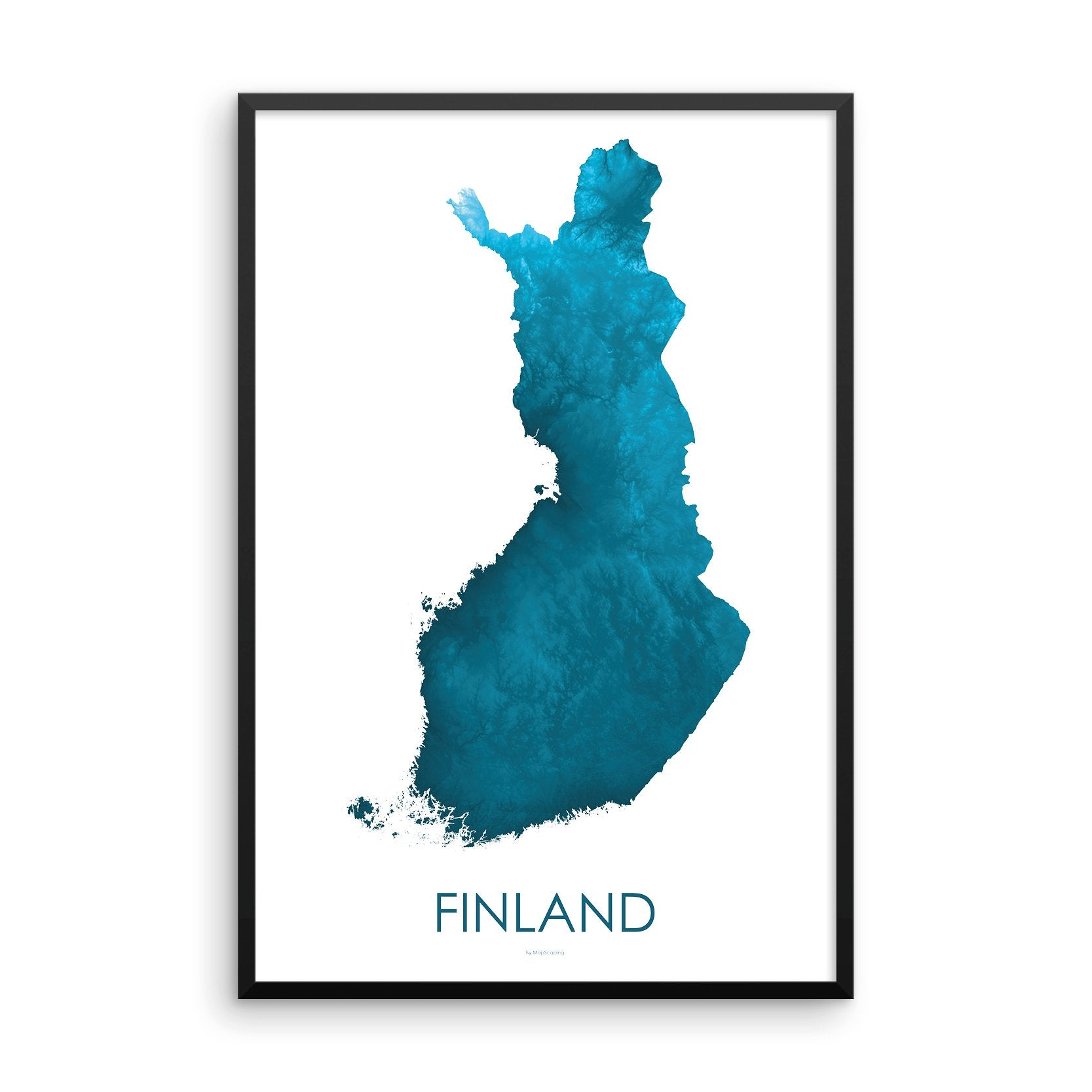 Finland Map Petroleum Blue-Topographic Map