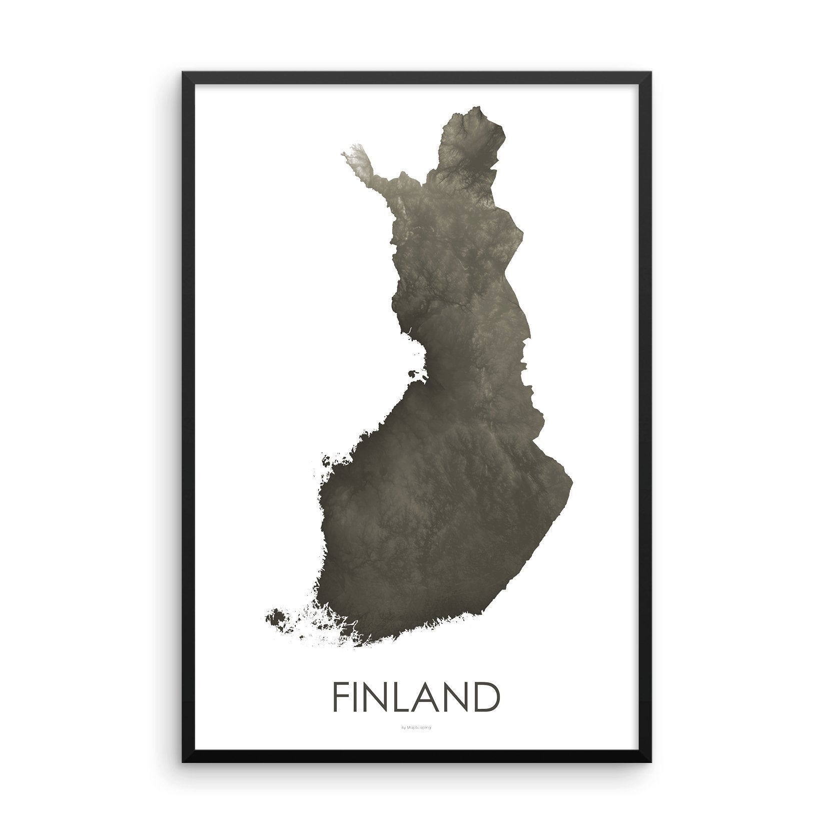 Finland Map Slate-Topographic Map