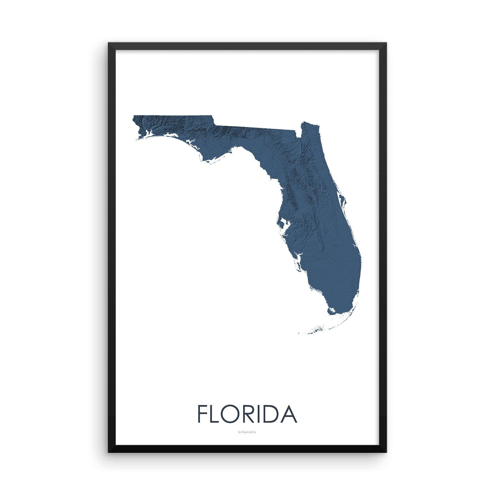 Topo Map Florida.Florida Topographic Wall Art Map Mapscaping Com